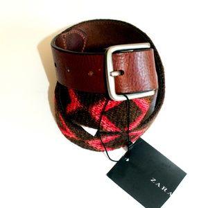 NWT ZARA Multi color Wool Blend  Belt